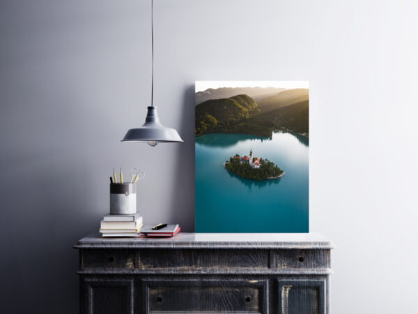 Lake Bled island preview framed image on the closet