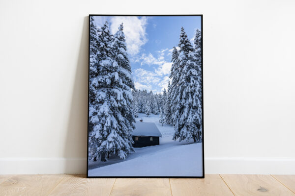 Winter cabin preview framed picture